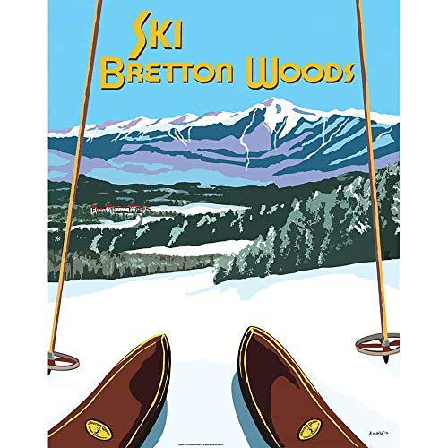Bretton Woods Vintage New Hampshire Art Deco Ski Poster, 22 x 28 inches