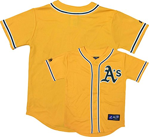 Outerstuff Oakland Athletics Word Mark Yellow Youth Authentic Alternate Replica Jersey (Kids 7)