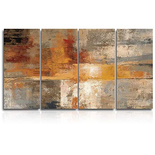 Framed Canvas Wall Art for Living Room,Silver and Amber Crop Painting Canvas Prints for Home Decoration Ready to Hanging 4 Panel 16