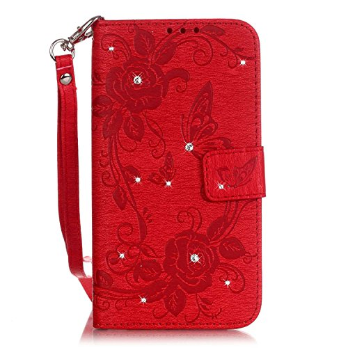"Apple iPhone 6/6S 4.7"" Wallet Case - Felfy Luxe Bookstyle Bling Sparking Diamant Rose Papillon Campanula Motif Flip-style Magnetic Closure PU Cuir Étui Portefeuille Housse Portefeuille Relief Coque Ho"