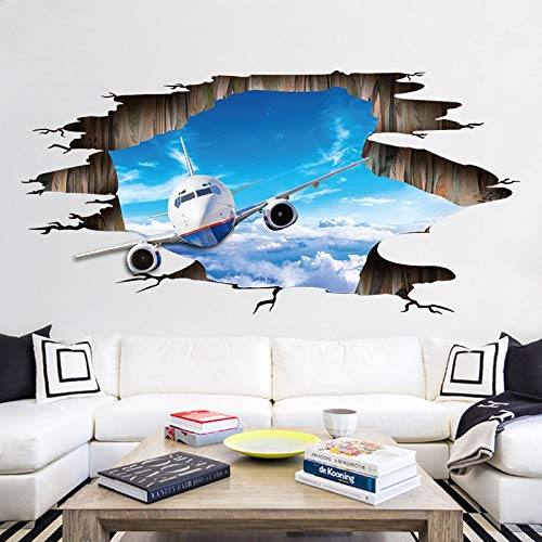 YQSMYSW New 3D Wall Stickers Sky Plane Floor Stickers PVC Removable Three-Dimensional Stickers Decorative Painting (Size : 6090cm)