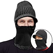 Mocofo Kint Winter Hats, 3-in-1 Cold Weather Beanie with Flexible Neck Guard for Men and Women,Winter Face Mask Riding Hat for Outdoor Sports Cycling Motorcycle Ski (Black with Brim)