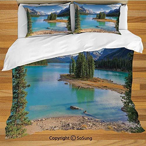 - Lake House Decor King Size Bedding Duvet Cover Set,Maligne Lake in Jasper Natioanal Park Alberta Canada Summer Day Outdoor Picture Decorative 3 Piece Bedding Set with 2 Pillow Shams,Green Blue