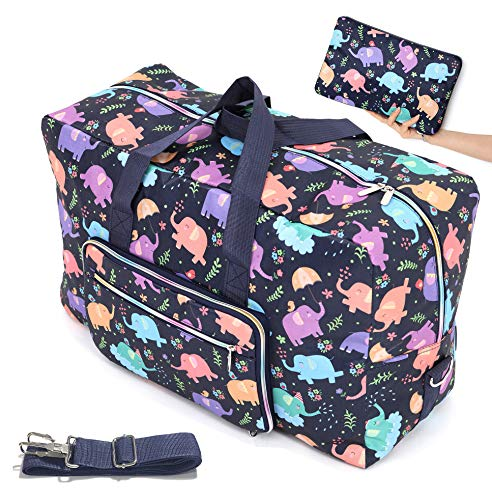 Womens Foldable Travel Duffel Bag 50L Large Cute Floral Travel Bag Hospital Bag Weekender Overnight Carry On Bag Checked Luggage Tote Bag For Girls Kids (elephant)