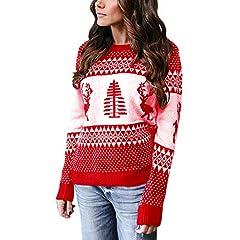 66f89c1f7e44b Franterd Merry Christmas Tops Women Christmas Tree Elk Knitti .