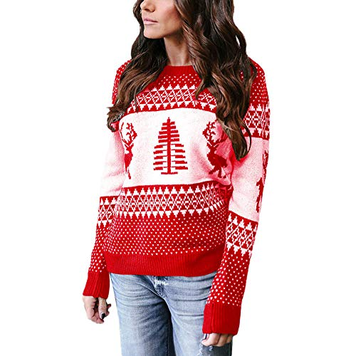 Franterd Merry Christmas Tops Women Christmas Tree Elk Knitting Sweater Holiday Party Blouse Geometric Green Pullover