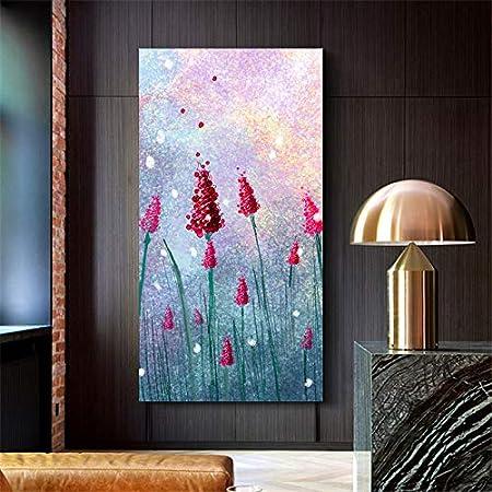 N / A Pintura sin Marco Lienzo Pintura al óleo Hermoso racimo Flores de Lavanda roja Pintura al óleo Fresca Sala de Estar decoración del dormitorioZGQ6109 40X80cm