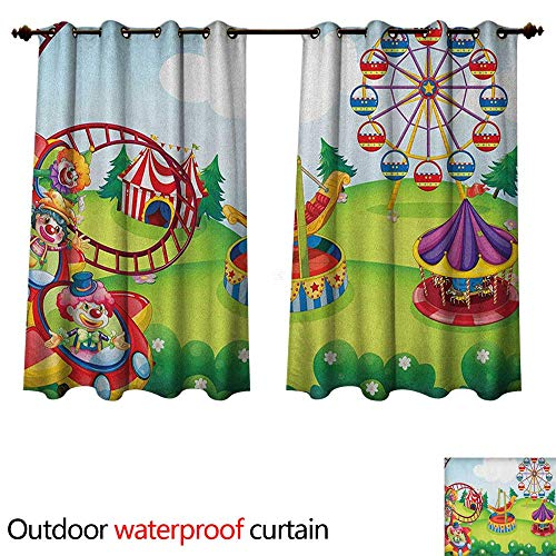 Circus Home Patio Outdoor Curtain Circus and Theme Park Design Carousel Amusement and Excitement Theme Trees Forest W120 x L72(305cm x 183cm) ()