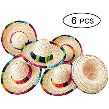 f70f84e0 Z 6 Pack Natural Straw Mini Sombrero/Mini Mexican Party Hat, Tabletop Party  Supplies, Cinco de Mayo Mexican Fiesta Hat, Fiesta Table Decorations, ...