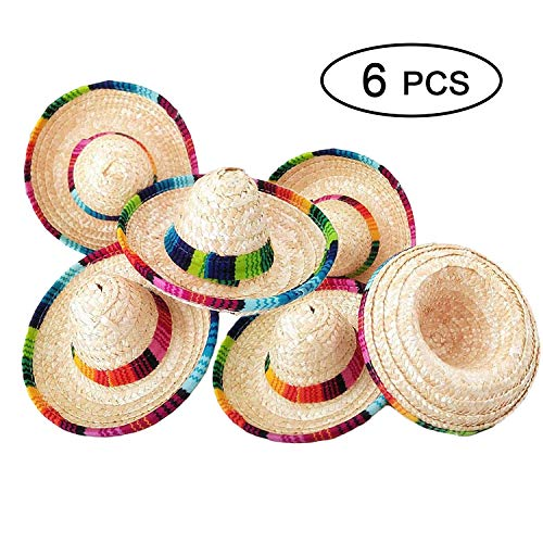 Sombreros In Bulk (6 Pack Natural Straw Mini Sombrero Hat/Mini Mexican Hat, Tabletop Party Supplies Hat, Mexican Fiesta hat, Cinco de Mayo Party hat, Mini Sombrero Top Hat for Child Animal Dogs)