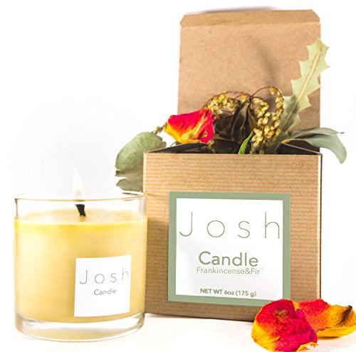 All Natural Scented Beeswax Candle -50 Hour Clean Burning - Essential Oils - Cade Copaiba, Lavender lemongrass, Sweet Orange Basil - 6 oz - J o s h -