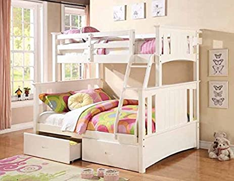 Brand New 13pc Slats Top Bottom Twin Full Size Bunk Bed In White Finish