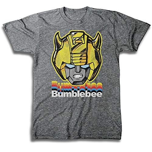 Transformers Hasbro Mens Throwback Shirt - Optimus Prime, Megatron, Bumblebee - Throwback Classic T-Shirt (Graphite Heather, Small)
