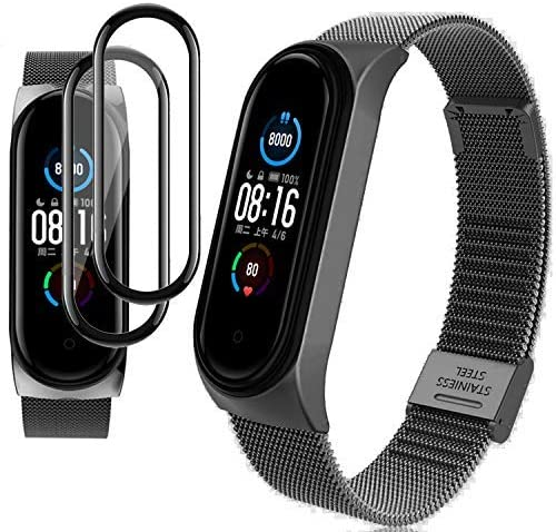 Milomdoi [3Items] 1 Black Strap Bracelet + 2pack PET Screen Protector for Xiaomi Mi Band 5, Stainless Steel Bracelet Replacement Watch Band Strap-Black