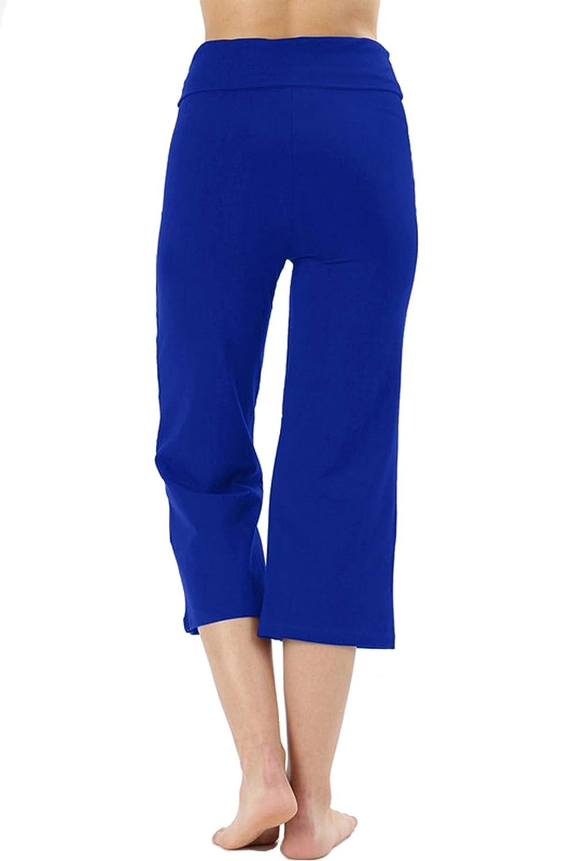 Re.Born Womens Premium 260gsm Fold Over Cotton Spandex Lounge Yoga Capri Pants S-3XL