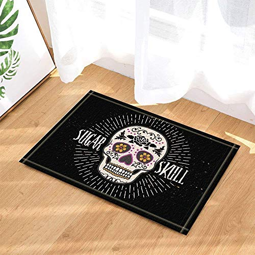 Creative Halloween Rose Head Black Bottom Bath Tub Non-Slip Anti-Slip Floor Door, Doormat Outside, Bath Mat 15.7x23.21in, Bath Mat ()