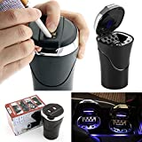 Portable Rechargeable Car Ash Tray with Blue LED Light Shiningshopping Smokeless Ashtray Holder with USB Cigar Lighter for Car Cup Holder Portable Carry in a Car (Silver)
