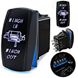 FABOOD F 7 Pin WINCH IN/OUT Momentary Rocker Switch Laser ON-OFF-ON Two LED Backlit Blue Light 20A 12V For Auto Automotive Motorcycle Truck Boat Marine Off-Road ATV Replace Kit (with Jumper Wire)