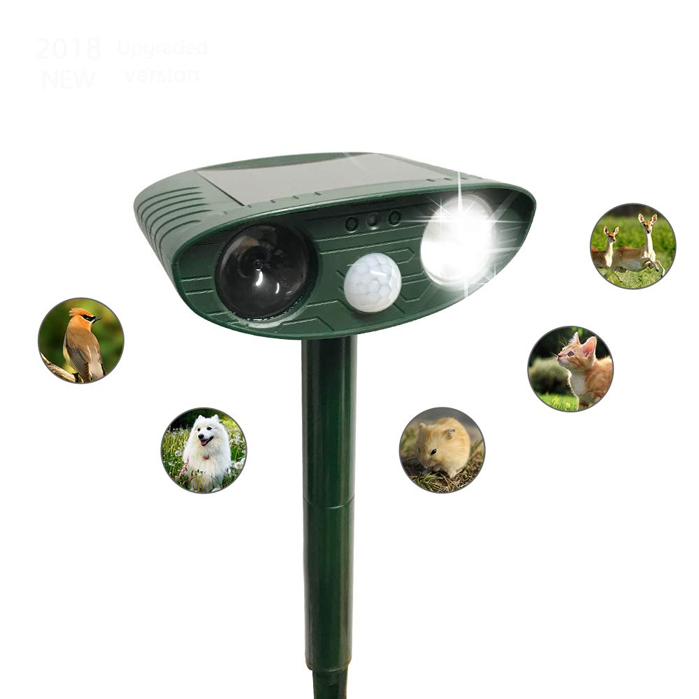 Cypropid Ultrasonic Animal Repeller, Solar Powered repellent with Motion Sensor Ultrasonic and Red Flashing lights, Outdoor Waterproof, for Farm Garden Yard, Cats, Dogs, Foxes, Birds, Skunks, Rodents