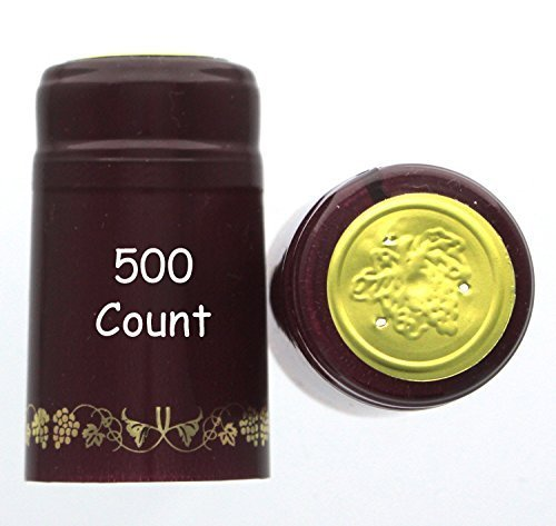 Home Brew Ohio Burgundy with Gold Grapes PVC shrink Capsules-500Count