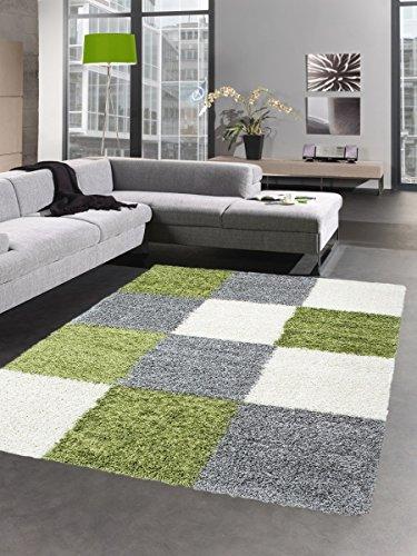Carpetia Shaggy Teppich Hochflor Langflor Bettvorleger Wohnzimmer Teppich Läufer Karo grün grau Creme Größe 160x230 cm