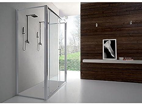 Box doccia parete fissa e porta a libro soffietto h reversibile