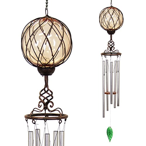 Exhart Bronze Windchime w/Amber Solar Crystal Ball - Solar Glass Ball Garden Chimes w/Solar-Powered Lights in Bronze Metal Cage Finial Design - Hand-Blown Glass Orb, Tuned Windchimes, 5