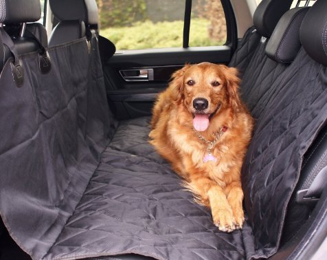 SuperPets Luxury Pet Car Seat Cover With Seat Anchors for Cars, Trucks, and SUV - Black, WaterProof & NonSlip (Luxury Dog Accessories)