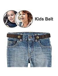 "Buckle-free Stretch Belt for Child Kids No Buckle Elastic Waist Belt Up to 24"" for Jeans Pants (Child Belt-brown)"
