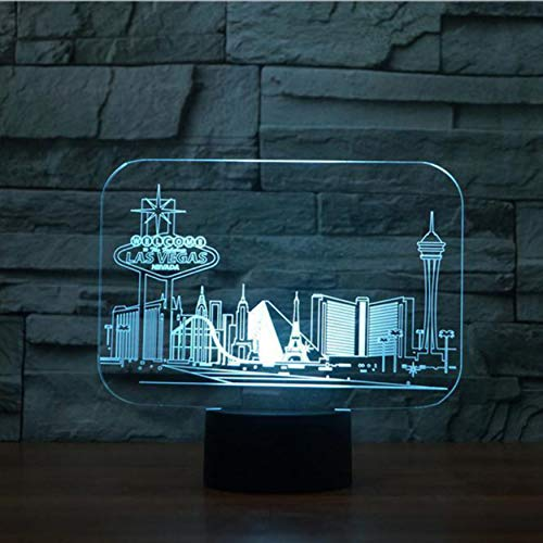 Visual Stereo Light Creative Las Vegas Building 3D RGB Night Light 7 Color Changing Touch Switch Bedroom Desk Table Lamp for Kids Gift