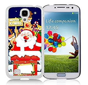 Galaxy S4 Case,Merry X-Mas Gift Santa Claus Christmas Series-TPU White S4 Protective Case,Samsung S4 I9500 Case