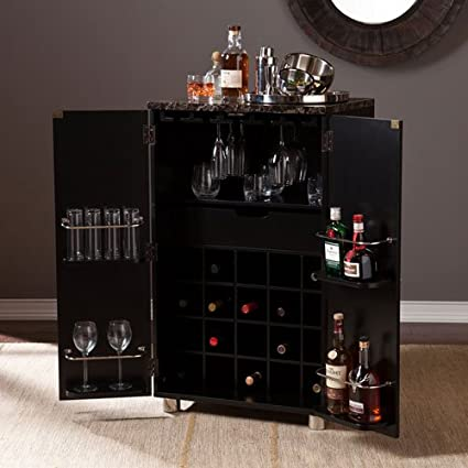 Beau Southern Enterprises Cape Town Contemporary Bar Cabinet In Black Finish