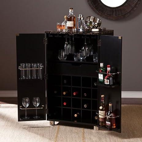 Amazon.com: Cape Town Contemporary Bar Cabinet in Black Finish ...