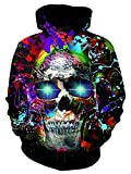 UNIFACO Teen Boy Colour Skull Hoodies Cute Long Sleeve Casual Sweatshirt Hooded X-Large