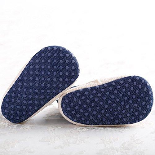 Etrack-Online Mary Jane Shoes - Zapatos primeros pasos de Lona para niña Azul