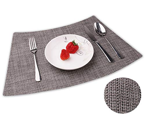 Convetu Placemats for Round Tables, PM05 Kitchen Dining Wedge Table Mats Set of 4 Modern Solid Color Textilene PVC Vinyl Non Slip Heat Resistant Washable (Grey-Silver)
