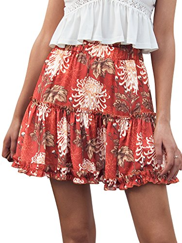 Simplee Women's Casual Boho Floral Skirt Soft Ruffle Summer Short Skirt Print US (Mini Petite Skirt)