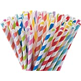 Paper Straws, 200 Pack, 8 Different Colors Rainbow Stripe Paper Drinking Straws - Paper Straws for Birthday, Wedding, Christmas, Celebration Parties