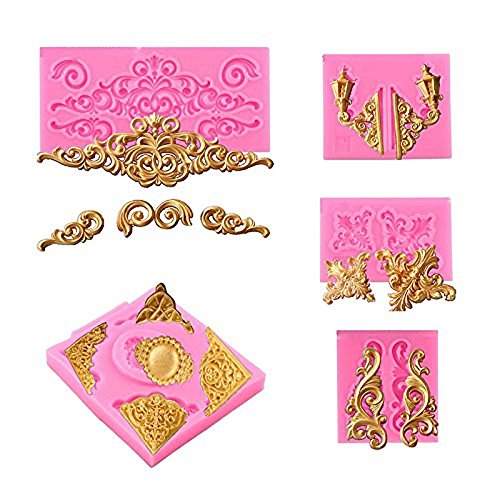 - ( 5 in Set) Baroque Style Curlicues Scroll Lace Fondant Silicone Mold for Sugarcraft, Cake Border Decoration, Cupcake Topper, Jewelry, Polymer Clay, Crafting Projects by Palker Sky