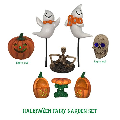 Fairies For Halloween (Halloween Fairy Garden Accessories Kit - 8 Pieces Including 2 that Light Up! Fun Miniature Ghosts, Jack O Lantern, Skull and more!)