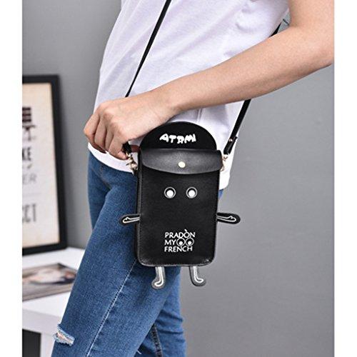 Purse Crossbody Handbags Bag Pouch Black Female Shoulder Mobile Wallet Phone JAGENIE Robot White xwqvf0O0
