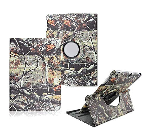 iPad Air 2 Case - Tsmine Premium 360 Degree Rotating PU Leather Case Camouflage Branch Straw Mossy Leaves for Apple iPad Air 2 Case (2014 Release), Branches ()