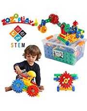 ZoZoplay STEM Learning 110 Piece Educational Engineering Construction Building Blocks & Gears Set; Build Excavator, Horse & Buggy and More. Best Gift Toy for 4, 5, 6, 7 Year Old Boys and Girls
