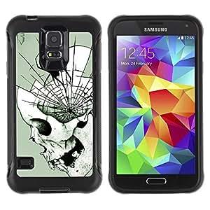 Suave TPU Caso Carcasa de Caucho Funda para Samsung Galaxy S5 SM-G900 / Spider Skull Halloween Death Metal / STRONG