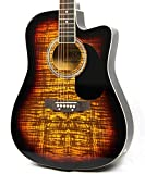Moz Full Size Thin Body Sunburst Acoustic Electric Guitar with 8 Accessories