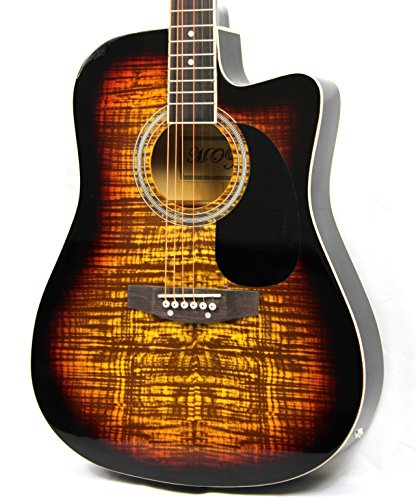 Moz Full Size Thin Body Sunburst Acoustic Electric Guitar with 8 - Acoustic Sunburst
