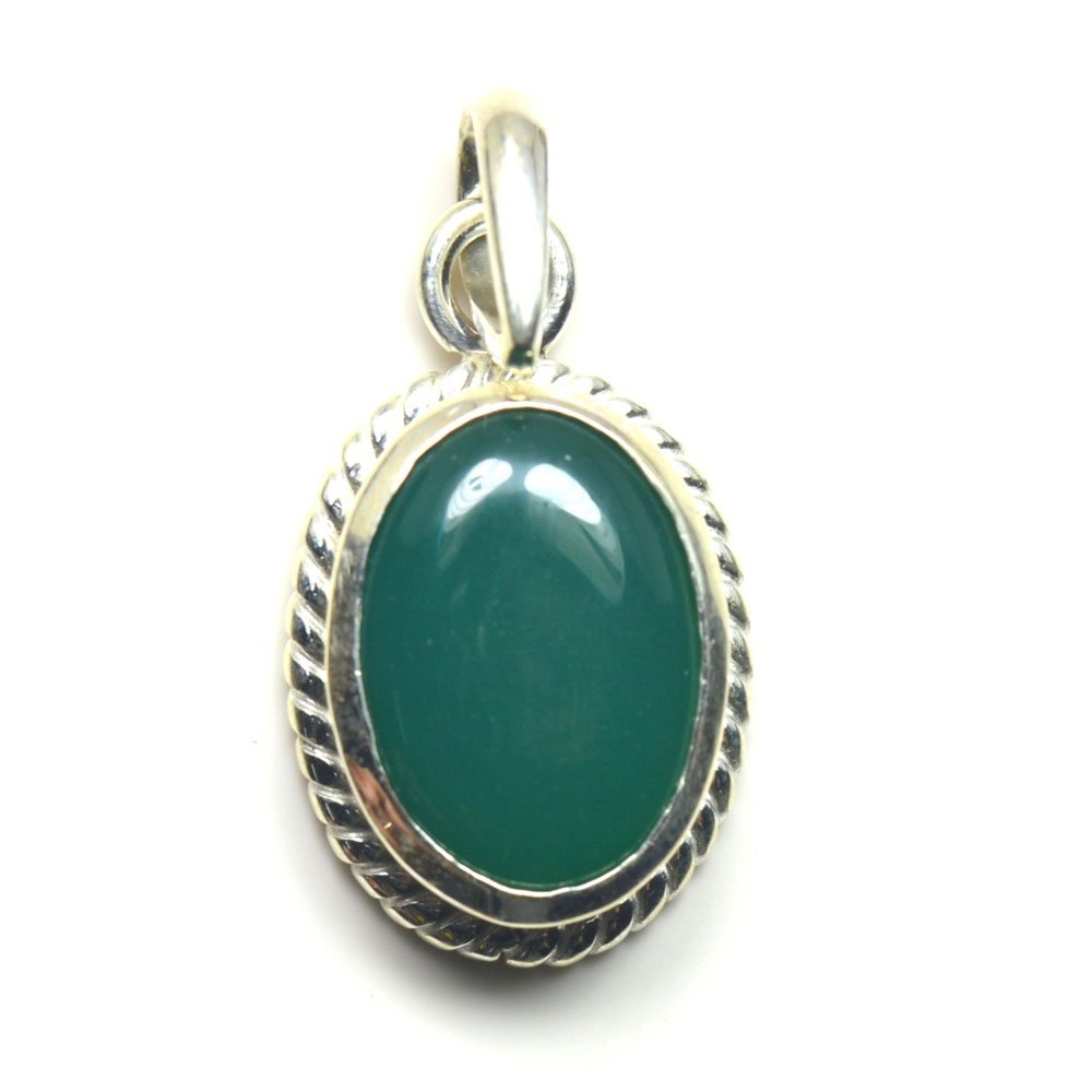 Jewelryonclick Green Onyx Design Pendant Charm 8.25 Carat Natural Oval Gemstone 92.5 Sterling Silver