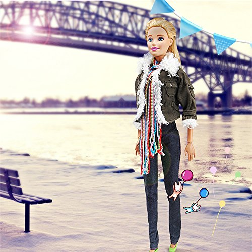 Qiyun Handmade Fashion clothes pack ,1 sets Winter Fashion Modern Outfit Casual Army Green Jacket and Scarf Pant with hat and shoes for Barbie Doll - Fashion Place Mall
