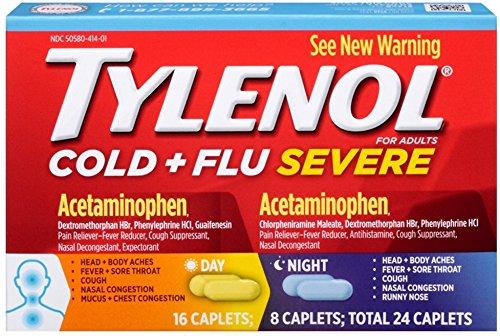 (TYLENOL Cold + Flu Severe Day & Night Caplets 24 ea (2 Pack))
