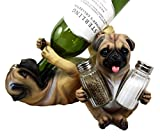 Atlantic Collectibles Adorable Canine Pug Dog 10.75'' Tall Wine Bottle And Salt Pepper Shakers Holder Figurine Set